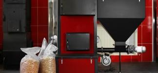 Solid-fuel boiler with pellet-fuel in boiler room